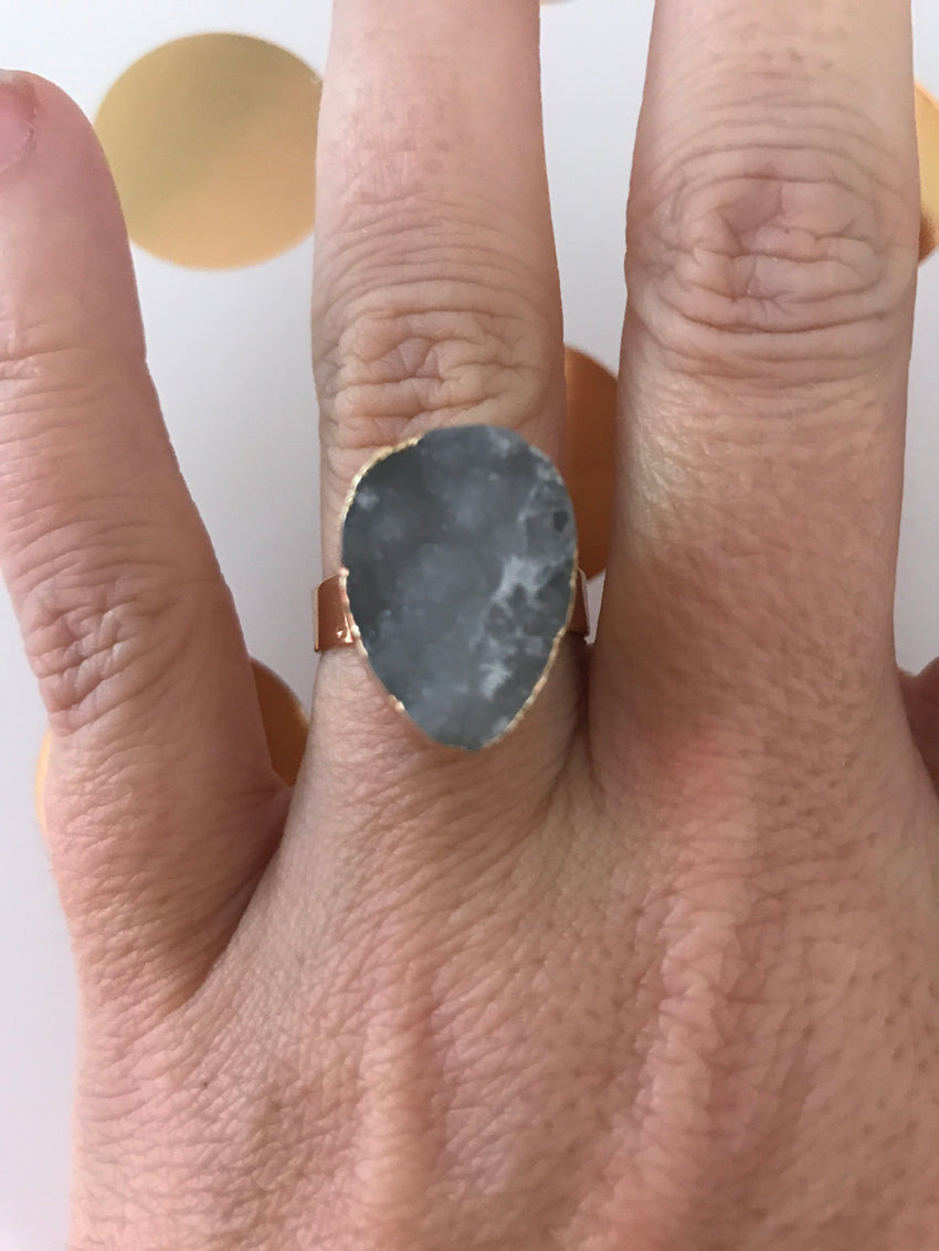 Faux Druzy Ring, Grey