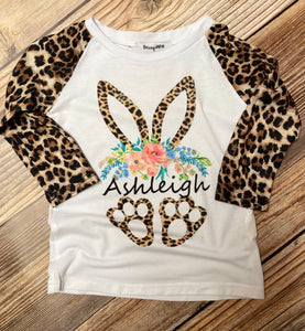 Easter Bunny KID's Personalized T-Shirt, Leopard
