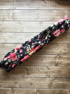 Black Floral Button Headband