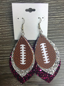 Glitter Trio Football Earrings, Maroon/Silver