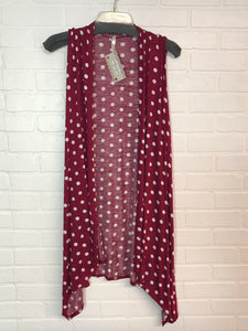 Polka Dot Long Vest, Bright Burgundy