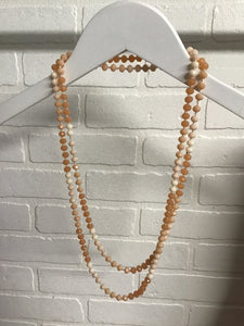 Infinity Necklace, Peach/White