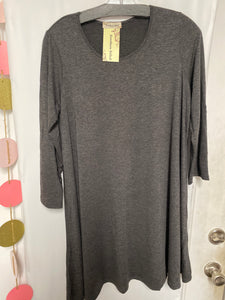 Scoop Neck T-Shirt Dress, Charcoal
