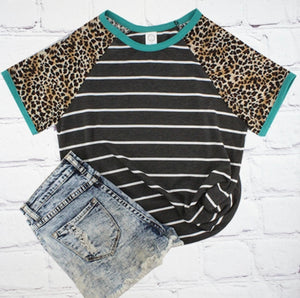 Dark Grey Leopard and Stripes Top