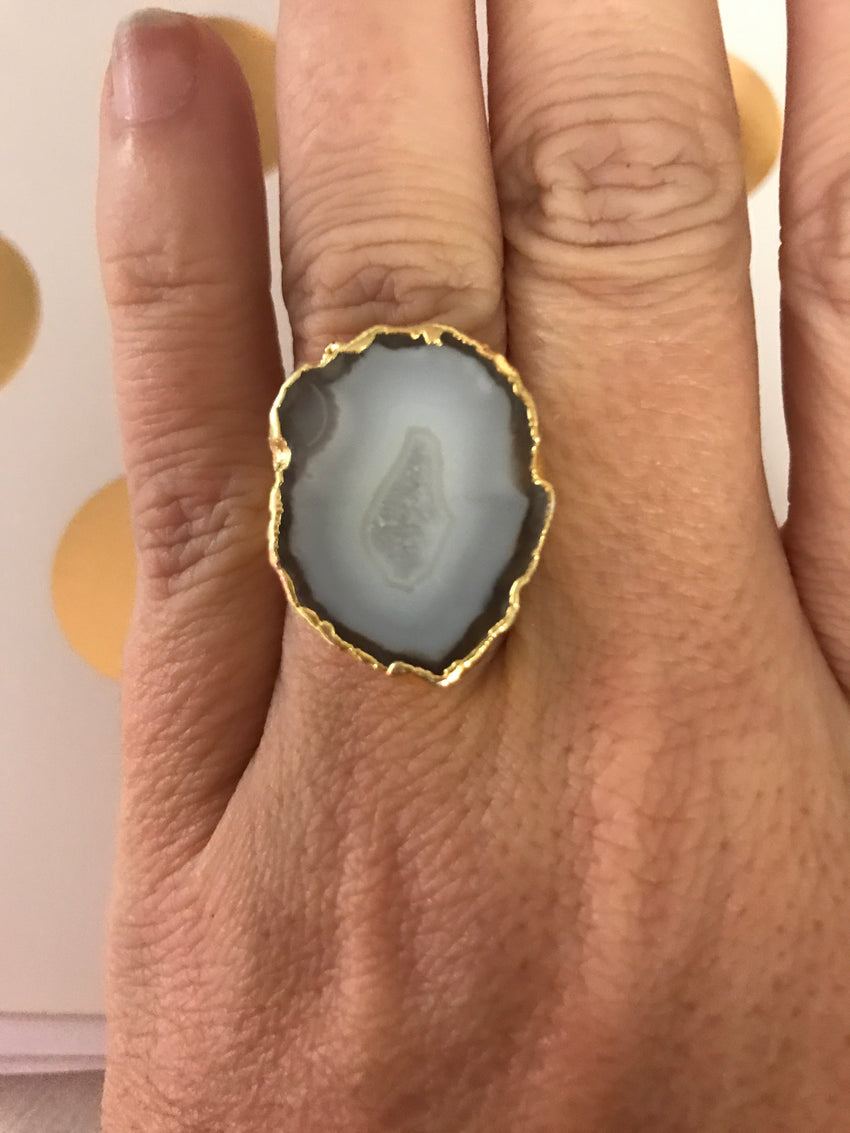 Faux Stone Ring, Grey