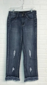Mid Rise Frayed Jeans, Mid Wash
