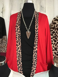Red Leopard Printed Cardigan with Pockets