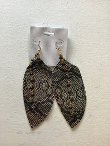 Snake Skin Earrings with Beaded Chain
