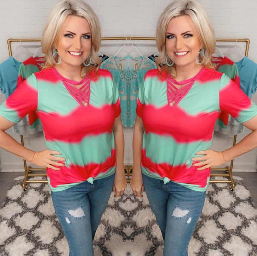 Tie Dye Top with Criss Cross Neckline, Magenta/Turquoise