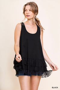 Lace Trim Tank, Black