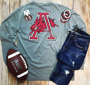 Arkansas Razorbacks Hog Through A Long Sleeve T-Shirt