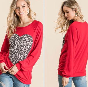 Top with Large Leopard Heart, Red