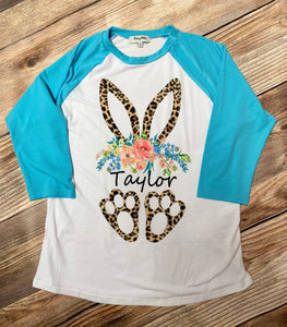 Easter Bunny Personalized T-Shirt, Turquoise