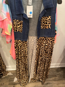 Leopard Denim Vest, Plus Size