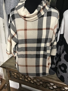 Plaid Top with High Neck, Rust and Cream