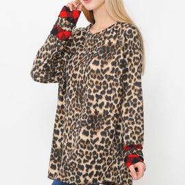 Leopard and Buffalo Plaid Accent Top