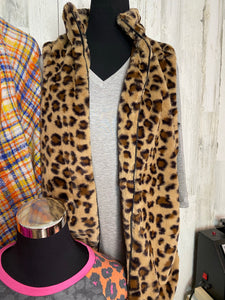 Leopard Furry Zip Up Vest with Pockets