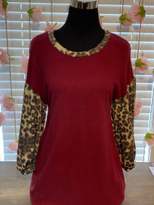Burgundy Top with Leopard Sleeves