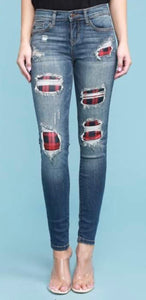 Judy Blue Plaid Patch Skinny Jeans, Md Wash