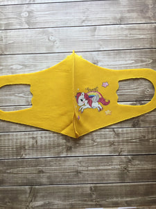 Kids Mask, Yellow Unicorn