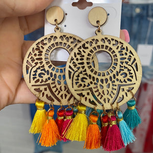 Wooden Tassel Earrings, Multi