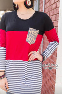 Leopard Striped Tunic, Red