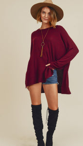 Long Sleeve Over Sized Top, Burgundy