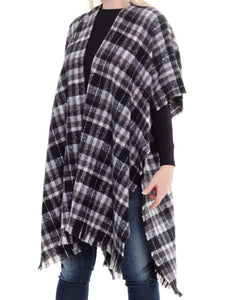 Plaid Kimono, Black and Grey