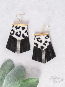 Leopard Leather Fringe Earrings, Black