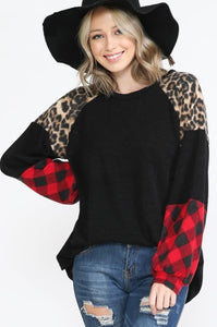 Leopard and Plaid Sleeve Top