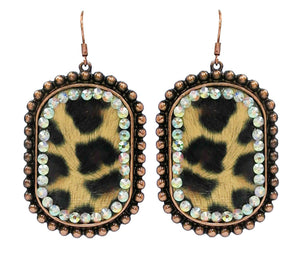Metal Leopard Earrings with Crystals