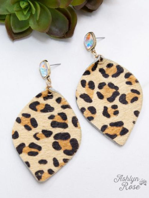 Leopard Leaf Earrings, Beige