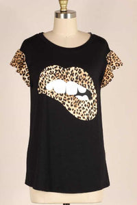 Leopard Print Lip Top, Black