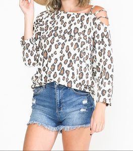 White Leopard Top with Cut Sleeves