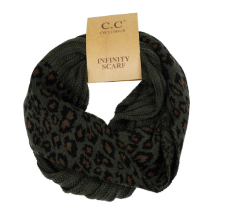 CC Infinity Scarf, Olive Leopard