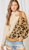 Taupe Leopard Sweater with Strap