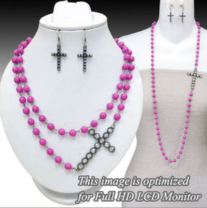Cross Necklace Set, Magenta