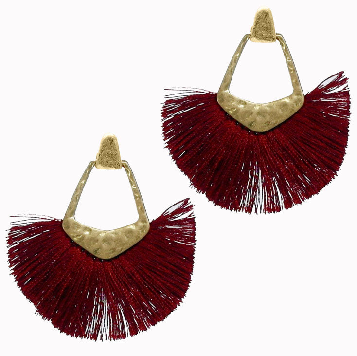 Thread Tassel Earrings, Maroon