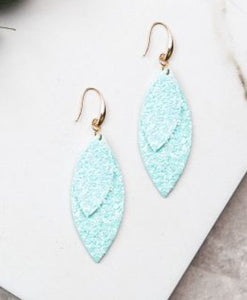 Layered Leaves Glitter Earrings, Light Mint