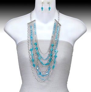 Multi Layer Cross Necklace Set, Turquoise