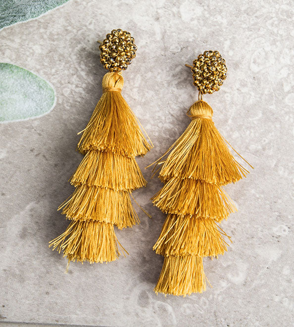 Queen of the Tassel Earrings, Mustard