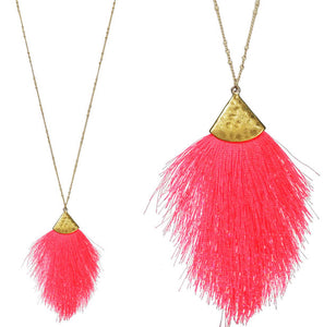 Fringe Necklace, Hot Pink