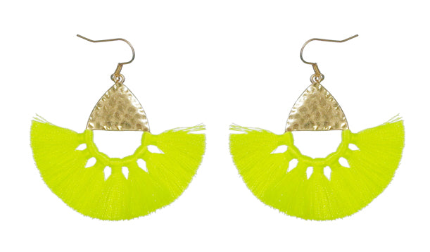 Hammered Metal Tassel Earrings, Neon Yellow