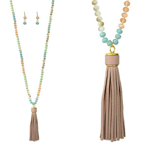 Long Bead Bassel Necklace, Multi