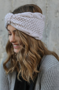 Rolled Bow Knit Headwrap, Oatmeal