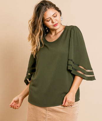 Mesh Burnout Sleeve Top, Olive