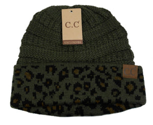 CC Beanie, Olive Leopard