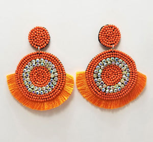Bling Statement Earrings, Orange