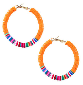 Orange Disc Hoop Earrings