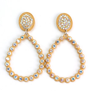 Bling Teardrop Earrings, Peach